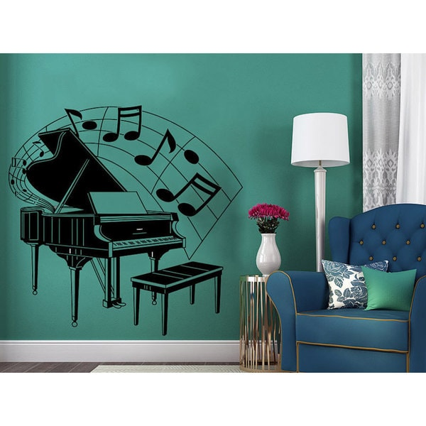 Piano Silhouette Musical Notes Waves Music Musical Instrument Wall Decal  Recording Studio Sticker Decal size 33x39 Color Black