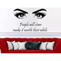 Quote Beauty Salon Decor Eyes Makeup Cosmetic Hairdressing Sticker Decall size 44x52 Color Black