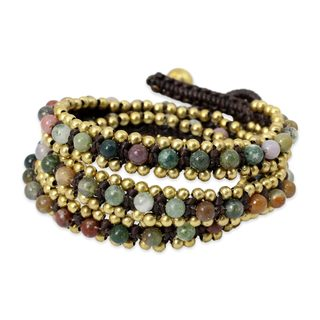 Handcrafted Brass 'Happiness' Agate Bracelet (Thailand)