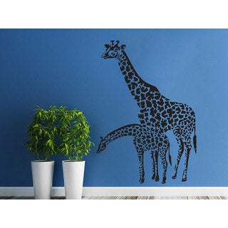 Animals Family Of Giraffes Africa Safary Sticker Decal size 22x30 Color Black