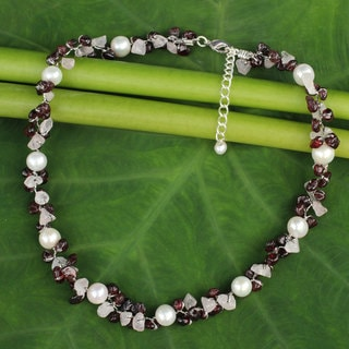 Handmade Sterling Silver Overlay 'Luscious Chic' Multi-gemstone Pearl Choker (5 mm) (Thailand)