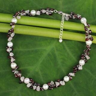 Handmade Sterling Silver Overlay 'Luscious Chic' Multi-gemstone Pearl Choker (5 mm) (Thailand)