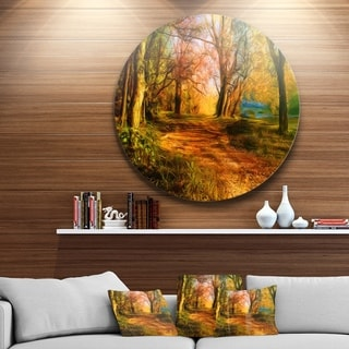 Designart 'Beauty of Nature' Landscape Aluminum Circle Wall Art