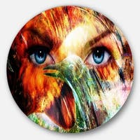 Designart 'Woman Feather Collage' Portrait Aluminum Circle Wall Art
