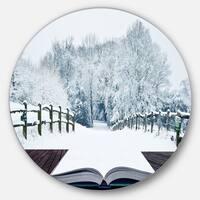 Designart 'Winter Wonderland' Landscape Contemporary Round Metal Wall Art