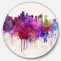 Designart 'Boston Skyline' Cityscape Disc Aluminium Artwork