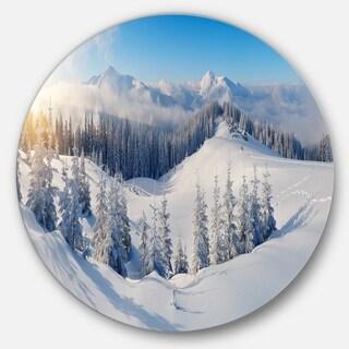 Designart 'Winter Mountains Panorama' Photography Aluminum Circle Wall Art