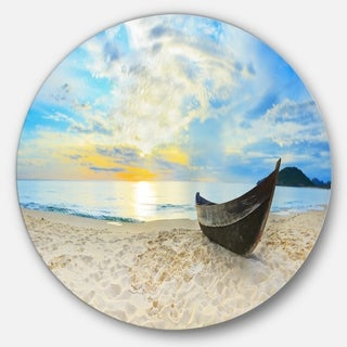 Designart 'Calm Beach Panorama' Photo Aluminum Circle Wall Art