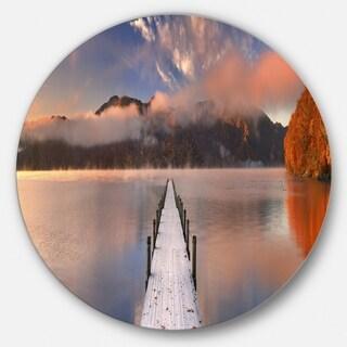 Designart 'Jetty in Lake Japan' Seascape Photography Aluminum Circle Wall Art