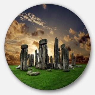 Designart 'Stonehenge' Landscape Photography Round Metal Wall Art