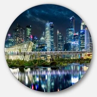 Designart 'Singapore Financial District' Cityscape Photo Aluminum Circle Wall Art