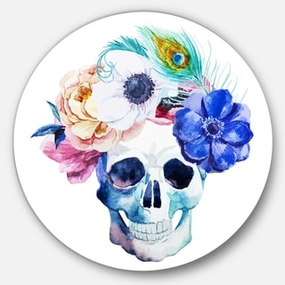 Designart 'Anemones and Scull' Floral Digital Disc Aluminium Artwork