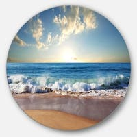 Designart 'Sea Sunset' Seascape Photography Round Metal Wall Art