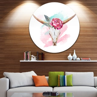 Designart 'Bull Skull and Flower' Floral Digital Disc Aluminium Artwork