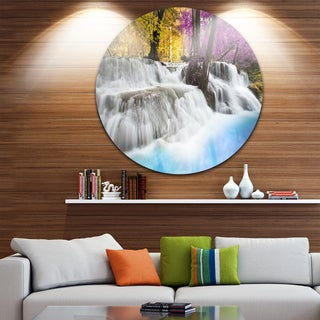 Designart 'Erawan Waterfall' Landscape Photography Aluminum Circle Wall Art