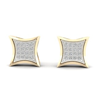 1/10ct TDW Diamond Cluster Stud Earrings in 10K Yellow Gold