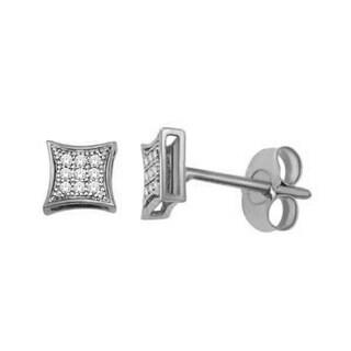 1/20ct TDW Diamond Cluster Stud Earrings in 10K White Gold