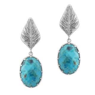 Pangea Mines Oval Turquoise Leaf Drop Earrings