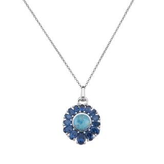 Pangea Mines Turquoise & London Blue Topaz Pendant