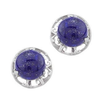 Pangea Mines 14mm Lapis Button Stud Earrings