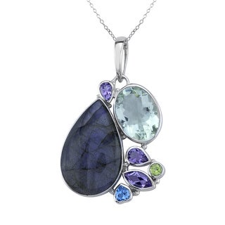 Pangea Mines Multi Gemstone Pendant Necklace
