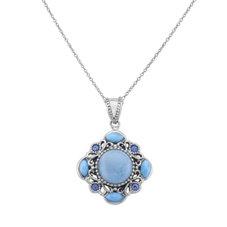 Pangea Mines Larimar & London Blue Topaz Pendant Necklace