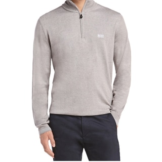 Hugo Boss Men's Zime PF Grey Cotton and Polyacrylic Half-zip Sweater