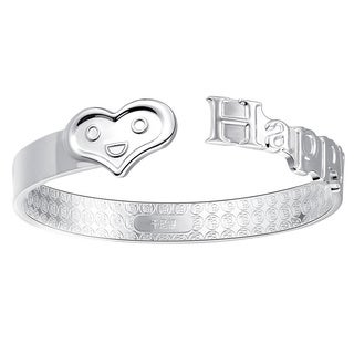Jewelry Elements 0.925 Sterling Silver Open Love Bangle