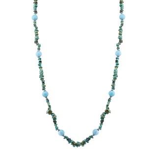 "Pangea Mines Amazonite & Nevada Turquoise 64"" Beaded Necklace"