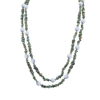 "Pangea Mines White Agate & Nevada Turquoise 64"" Beaded Necklace"