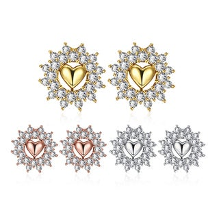 Jewelry Elements Goldplated Floral Petal Jewel-covered Studs