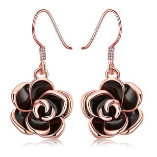 Jewelry Elements Rose Goldplated Flower Drop Earring