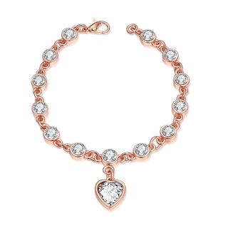 Jewelry Elements Heart Rose Gold Plated Bracelet