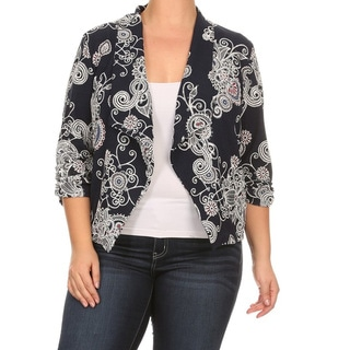 Women's Plus-size Mixed Paisley Cardigan Blazer