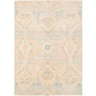 Herat Oriental Afghan Hand-knotted Vegetable Dye Ikat Wool Rug (4'10 x 6'10)