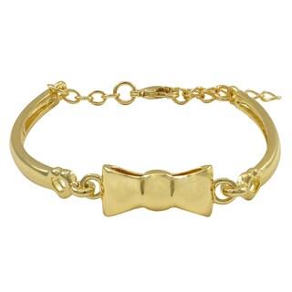 Luxiro Gold Finish Girls Bow Bangle Bracelet