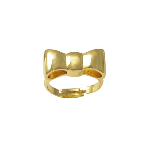 Luxiro Gold Finish Bow Children's Adjustable Ring