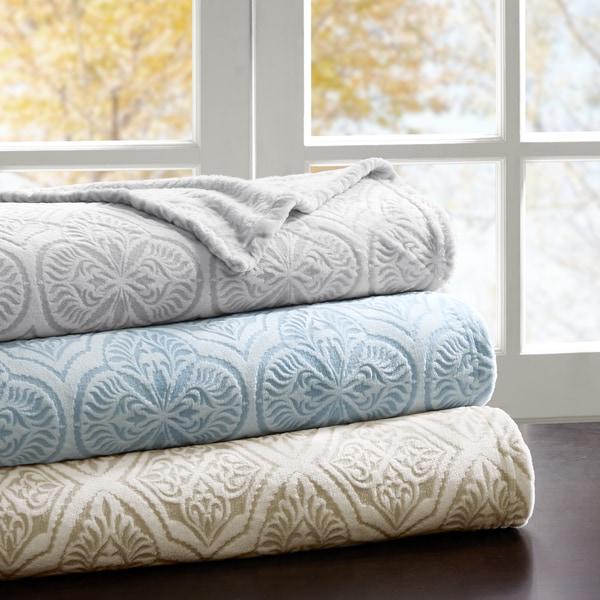 Madison Park Emma Printed Textured Ultra Plush Blanket 3-Color Options