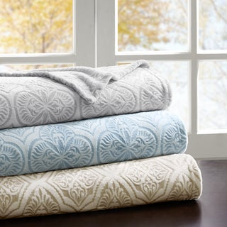 Madison Park Emma Printed Textured Ultra Plush Blanket 3-Color Options
