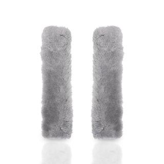 Zone Tech Grey Sheepskin Shoulder Strap Seat Belt Covers (Set of 2)