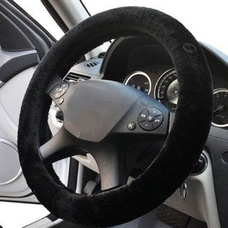 Zone Tech Classic Black Plush Stretch-on Steering Wheel Cover