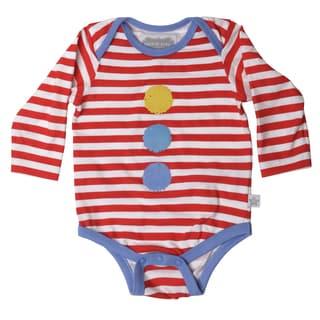 Rockin' Baby Boy's Red/White Striped Cotton Clown Onesie