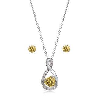 Glitzy Rocks Sterling Silver Birthstone Gemstone Infinity Heart Necklace Earrings Set