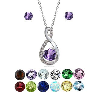 Glitzy Rocks Sterling Silver Birthstone Gemstone Infinity Heart Necklace Earrings Set