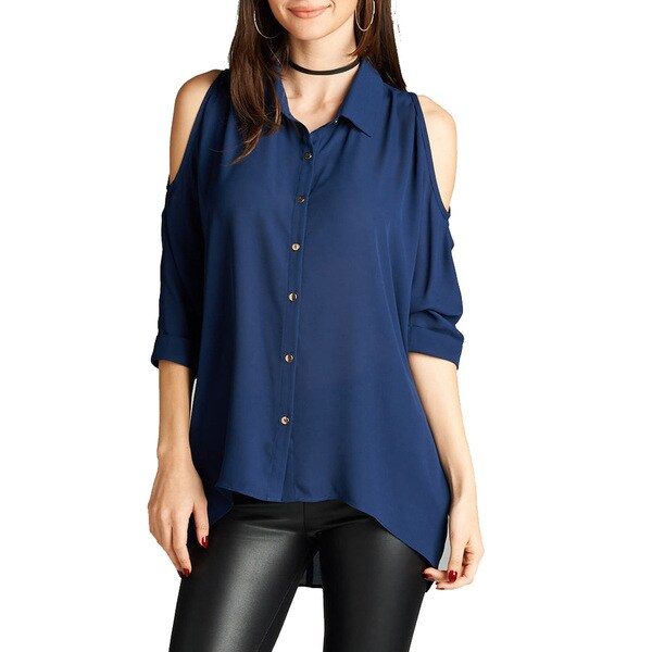 32175f344dc Jed Women  x27 s Threequarter-sleeve Off-shoulder Chiffon Button Down Shirt