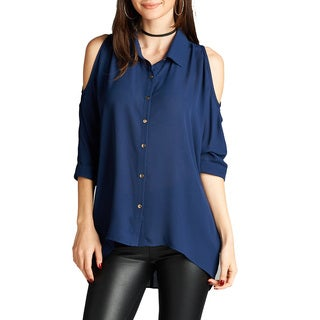 Jed Women's Threequarter-sleeve Off-shoulder Chiffon Button Down Shirt