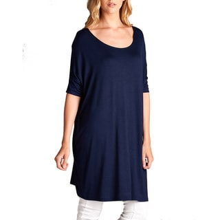 Jed Women's Rayon and Spandex Soft Relax-fit Round-neck Long Tunic Top