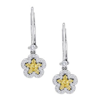 18k White Gold 1/2ct TDW Yellow and White Diamond Dangling Flower Earrings