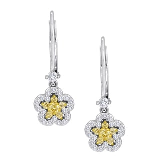 18k White Gold w/ Yellow and White Diamond (1/2 ct. TDW) Daffodil Earrings (H-I, SI1-SI2)