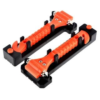Zone Tech Orange Stainless Steel Car Emergency Life Hammer (Set of 2)